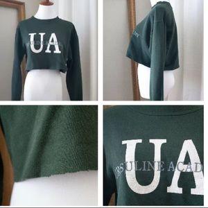 Tops - Women's Vintage Highschool Sweatshirt Crop Top